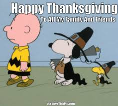happy thanksgiving to all my friends and family snoopy gif quote