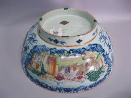 mandarin porcelain large export porcelain punch bowl decorated in the