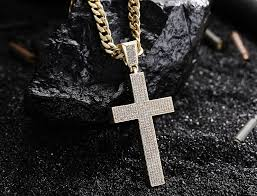 large gold link necklace images Dressup fashion jewelry gold silver cross necklace large iced out jpg