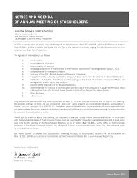 Annual General Meeting Agenda Template by Annual Stockholder U0027s Meeting Aboitizpower