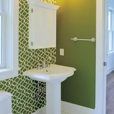 bathroom stencil ideas moroccan bathroom green and white painted stencil on one wall
