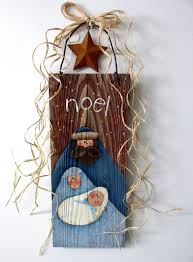 nativity hand painted on barn wood folk art nativity rustic