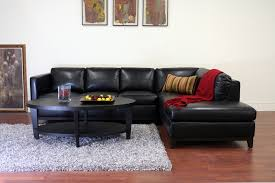 Black Leather Sofa With Chaise Rohn Black Leather Modern Sectional Sofa Interior Express