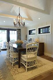 bungalow style home dining room beach style with exposed beams