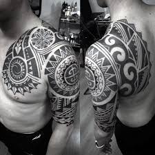 collection of 25 black polynesian half sleeve and chest tattoos