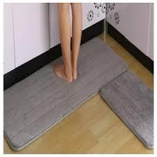 melano 2pcs set anti slip kitchen rugs carpet floor mat grey