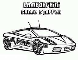 printable coloring sheet of lamborghini crime stopper cop car