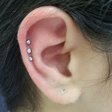 diamond cartilage piercing cartilage piercing on girl right ear with diamond studs