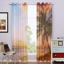 window curtain living room blue sheer curtains punching printed