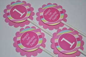Pink And Yellow Birthday Decorations 12 Cupcake Toppers 1st Birthday Pink Blue Green And Yellow