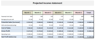 projected income statement template template design