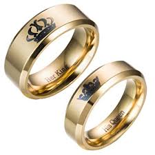rings king images Couple ring her king his queen titanium steel wedding jpg
