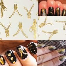 20 pattern nail art tips golden zipper water transfer decals