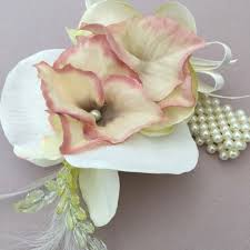 Prom Wrist Corsage Artificial Cream Silk Orchid Vintage Pink Crystal Band Wrist Corsage