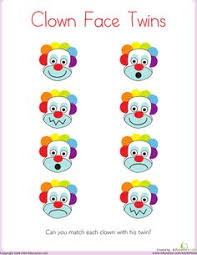 matching clown face twins clown faces worksheets and summer lesson