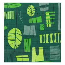 Heavy Drapery Fabric Tiki Green 1950s Style Pattern That Is Hand Screen Printed On New