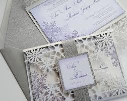 Snowflake Wedding Invitations Winter Invitation Etsy