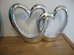 silver chrome entwined duo sculpture ornament