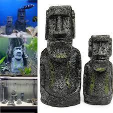 2pcs resin easter island statues set fish tank ornament aquarium