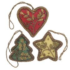 embroidered ornaments set of 3