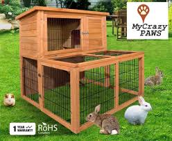 Rabbit Hutches And Runs Hutch Cage Indoor Outdoor 2 Story Rabbit Guinea Pig Chicken