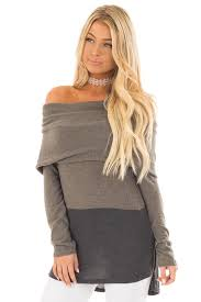 cowl sweater olive and charcoal color block cowl neck sweater lime