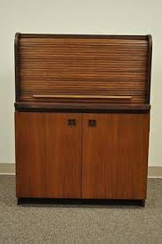 teak roll top desk vintage mid century modern teak tambour roll top secretary desk