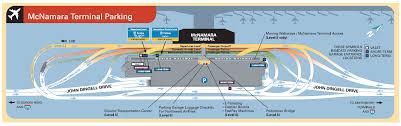 Detroit Metro Airport Map by Parking Scheme Near Mcnamara Terminal Of Detroit Metropolitan