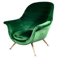 1950s Armchair Elegant Armchair In Emerald Green Velvet 1950s Green Velvet