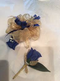 Royal Blue Corsage And Boutonniere Royal Blue And Gold Prom Wrist Corsage And Boutonnière By Hyr