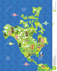 Map North America Cartoon Map Of North America In Vector Royalty Free Stock Photo