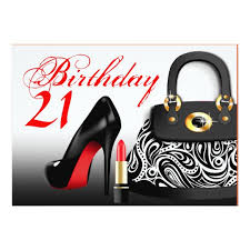 posh purse high heels and lipstick 21st birthday card zazzle com