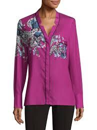 purple blouses yigal azrouël serpent print silk button blouse purple s