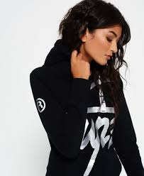 black womens superdry crew hoodie for sale