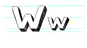 how to draw 3d letters w uppercase w and lowercase w in 90