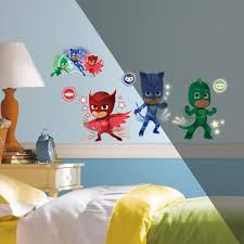 pj mask peel and stick wall decals with glow toys