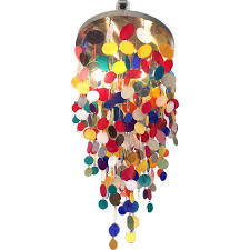 Colored Chandelier A Playful Colored Acrylic Disc Chandelier At 1stdibs