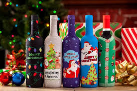 christmas wine toast the season christmas wine bottle covers 5 pack the