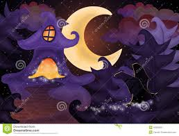 halloween night wallpaper with haunted house stock photo image