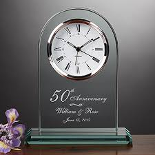 personalized anniversary clocks engraved 50th anniversary beveled glass clock