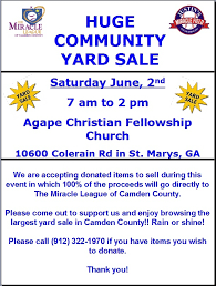 3rd annual yard sale rescheduled for june 2nd due to rain