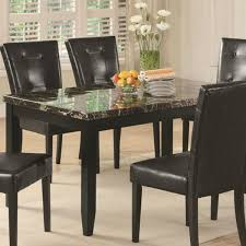 marble dining room set coaster 102791 anisa black faux marble dining table