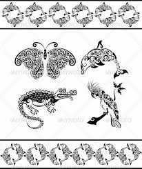 animal ornaments dolphin crocodile cockatoo by comicvector703