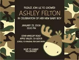 bella artista camo baby shower camouflage moose birthday invite