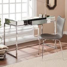 southern enterprises dana mirrored desk with drawer in chrome ho9274