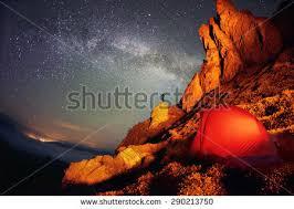 Artistic Lighting Tent Milky Way Artistic Lighting Unreal Stock Photo 290213750
