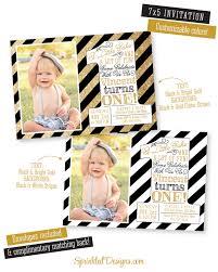 first birthday invitations photo card boy black white
