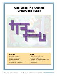 crossword puzzle thanksgiving god made the animals crossword puzzle children u0027s bible