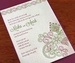 indian wedding invitation wordings best letterpress indian wedding invitation cards mehendi misha