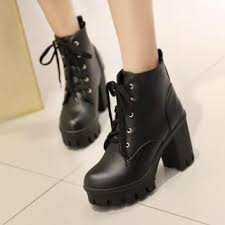 womens boots and shoes shop s boots leather heeled boots yesstyle